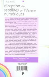 Reception Des Satellites De Tv & Radio Numerique, Choix, Montage, Cablage, Regla - 4ème de couverture - Format classique