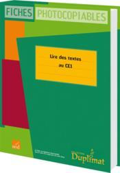 Duplimat ; Ce1 ; Lire Des Textes - Couverture - Format classique