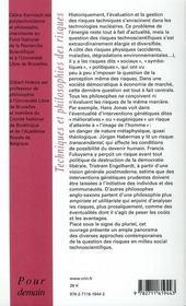 Techniques et philosophie des risques - 4ème de couverture - Format classique
