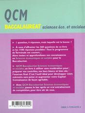Qcm Baccalaureat Sciences Economiques Et Sociales Tout Le Programme En 360 Questions Choix Multiples - 4ème de couverture - Format classique