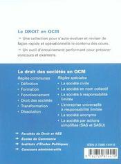 Le Droit Des Societes En Qcm - 4ème de couverture - Format classique