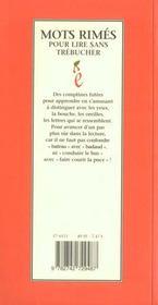 Mots Rimes Pour Lire Sans Trebucher - 4ème de couverture - Format classique