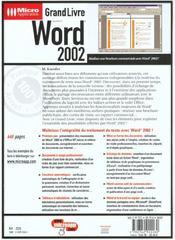 Grand Livre Word 2002 - 4ème de couverture - Format classique