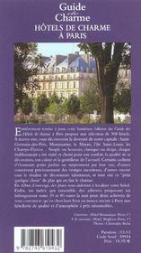 Hotels de charme a paris - 4ème de couverture - Format classique