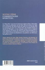 Notre Pere - Commentaire Spirituel - 4ème de couverture - Format classique