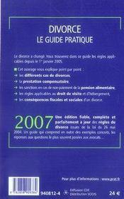 Divorce, le guide pratique (édition 2007) - 4ème de couverture - Format classique