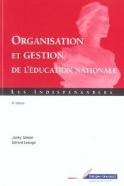 Vente  Gestion et organisation de l'education nationale (8e édition)  - Jacky Simon - Gerard Lesage - Simon - Lesage - Lesage/Simon