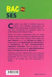 Guide Pour La Preparation Au Bac Es Sciences Economiques Et Sociales Enseignement Obligatoire Spec. - 4ème de couverture - Format classique