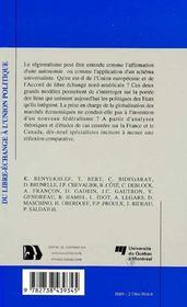 Du Libre-Echange A L'Union Politique - 4ème de couverture - Format classique
