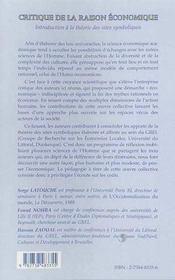 Critique de la raison économique ; introduction à la théorie des sites symboliques - 4ème de couverture - Format classique