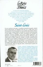 Les Rois qui ont fait la France . Les Capétiens .. 2. Saint-Louis. roi éternel - 4ème de couverture - Format classique