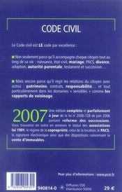 Code civil 2007 - 4ème de couverture - Format classique