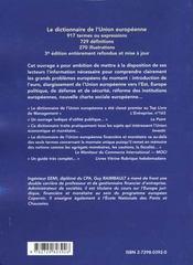 Le Dictionnaire De L'Union Europeenne 3e Edition - 4ème de couverture - Format classique