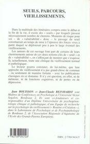 Seuils Parcours Vieillissements - 4ème de couverture - Format classique