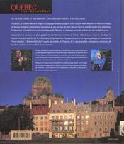 Québec, ville de lumières - 4ème de couverture - Format classique
