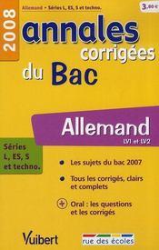 Annales Corrigees T.20 ; Allemand ; Lv1 Et Lv2 ; Terminale L/Es/S Et Technologiques (Edition 2008) - Intérieur - Format classique