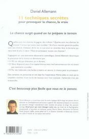 11 Techniques Secretes Pour Provoquer La Chance, La Vraie - 4ème de couverture - Format classique
