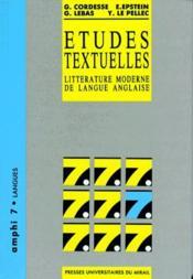 Études textuelles ; littérature moderne de langue anglaise - Couverture - Format classique