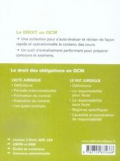 Les droit des obligations en QCM - 4ème de couverture - Format classique
