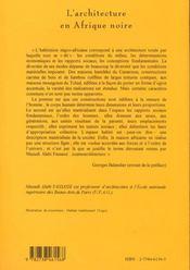 L'Architecture En Afrique Noire: Cosmoarchitecture - 4ème de couverture - Format classique