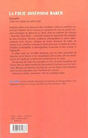 La folie josephine baker - 4ème de couverture - Format classique