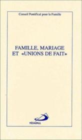 Famille, mariage et unions de fait - Couverture - Format classique