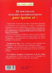 52 Nouvelle Enigmes Lycee - 4ème de couverture - Format classique