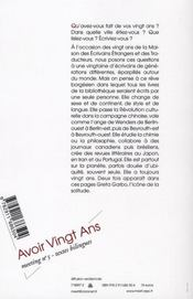 Recueil de textes du colloque meeting t.5 ; avoir vingt ans - 4ème de couverture - Format classique
