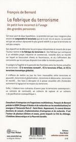 Fabrique Du Terrorisme (La) - 4ème de couverture - Format classique