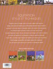 Equitation : Styles Et Techniques - 4ème de couverture - Format classique
