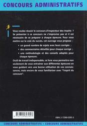Inspecteur Des Impots Categorie A Concours Externe Et Interne Fonction Publique D'Etat - 4ème de couverture - Format classique