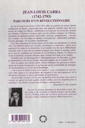 Jean-Louis Carra 1742-1793 ; Parcours D'Un Revolutionnaire - 4ème de couverture - Format classique