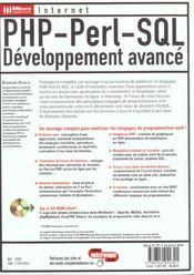Php Perl Sql ; Developpement Avance - 4ème de couverture - Format classique
