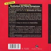 Essentiel Des Institutions De L'Union Europeenne (L') - 4ème de couverture - Format classique