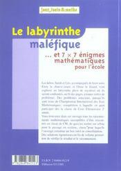 Le Labyrinthe Malefique - 4ème de couverture - Format classique