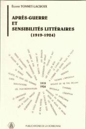 Après-guerre et sensibilités littéraires (1919-1924) - Couverture - Format classique