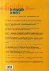 La géographie au cycle 3 - 4ème de couverture - Format classique