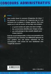 Inspecteur Du Tresor Categorie A Fonction Publique D'Etat Concours Externe Concours Administratifs - 4ème de couverture - Format classique