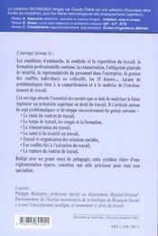 Legislation La Reglementation Du Travail Contrat De Travail Remuneration Sante Securite - 4ème de couverture - Format classique