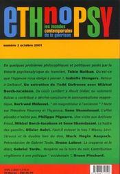 Revue Ethnopsychiatrie T.3 ; Suggestion, Psychanalyse, Hypnose, Effet Placebo - 4ème de couverture - Format classique