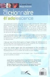Dictionnaire de l'adolescence - 4ème de couverture - Format classique
