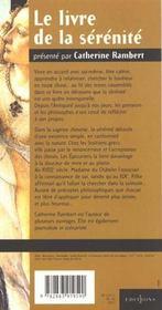 Le livre de la serenite - 4ème de couverture - Format classique