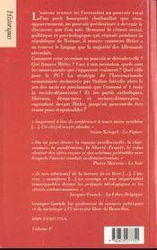 1933, Hitler Prend Le Pouvoir - 4ème de couverture - Format classique