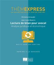 Lecture de bilan pour avocat ; analyse juridique et économique - Couverture - Format classique