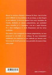 Integrer Sciences Po Paris Nouvelles Epreuves 1re Annee Methodologie Et Sujets Corriges - 4ème de couverture - Format classique