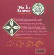 Motifs basques à connîitre et à créer - 4ème de couverture - Format classique
