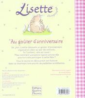 Lisette Choupinette ; Au Goûter D'Anniversaire - 4ème de couverture - Format classique