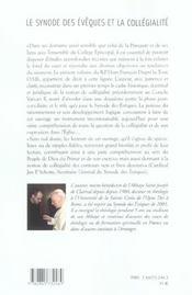 Synode Des Eveque Et La Collegialite - 4ème de couverture - Format classique