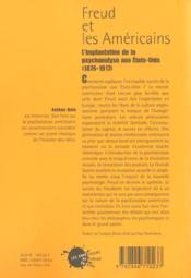 Freud Et Les Americains. L'Implantation De La Psychanalyse Aux Etats-Unis (1876-1917) - 4ème de couverture - Format classique