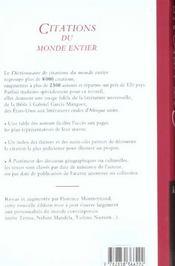 Dictionnaire De Citations Du Monde Entier - 4ème de couverture - Format classique